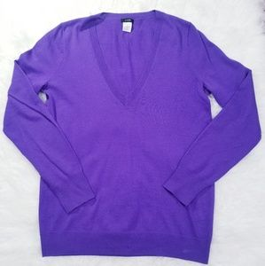J.Crew purple V neck ligh weight sweater. Size M